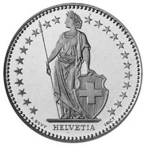 Helvetia - Standing Helvetia on obverse of a Swiss 2-franc coin.