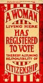 """A Woman Living Here Has Registered to Vote"" 1920 sign from St. Louis, Missouri.jpg"