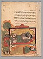 """The Ascetic Witnesses the Woman Trying to Poison the Lover"", Folio from a Kalila wa Dimna MET DP300734.jpg"