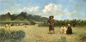 "Japanese in Hawaii - ""Japanese Laborers on Spreckelsville Plantation,"" oil on canvas painting by Joseph Dwight Strong, 1885, private collection"