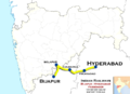 (Bijapur - Hyderabad) Passenger train route map.png