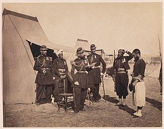 Camp de Châlons - The quarters of the Zouaves of the Imperial Guard at Camp de Châlons by Gustave Le Gray, 1857