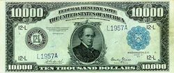 Series 1918 $10,000 bill, Obverse