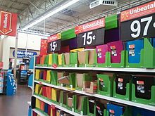 Discounted items, folders and notebooks priced at 15 cents.