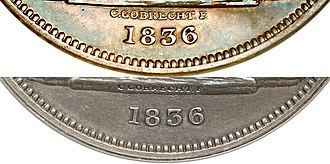Gobrecht dollar - The prominent position of Gobrecht's name (top) was altered (bottom) at the behest of Patterson.