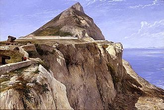 Windmill Hill (Gibraltar) - View of Windmill Hill fortifications and the Rock of Gibraltar in 1862