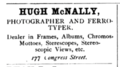 1882 Hugh McNally photographer Savannah Georgia USA advert.png