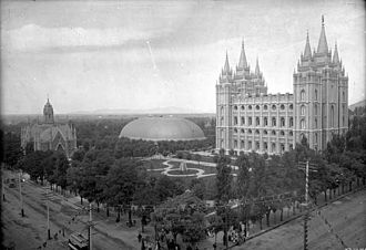 "Temple (Latter Day Saints) - Temple in Salt Lake City on ""Temple Square"" circa 1897"