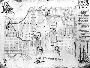 Great Fire of 1901 - Map of the Great Fire of 1901 that destroyed Downtown Jacksonville