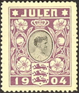 Christmas seal - The Danish Christmas seal of 1904 features the Danish Queen Louise