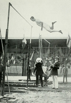 Athletics at the 1912 Summer Olympics – Men's pole vault - Frank Nelson winning the silver medal.