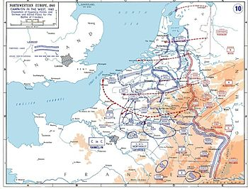 The disposition of forces and the 1940 campaign in France and the Low Countries.