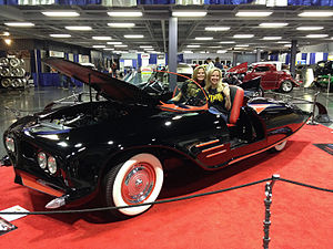 Batmobile - 1963 Batmobile exhibited Feb 2014 shortly after restoration with original builders daughters Karen and Darlene Robinson