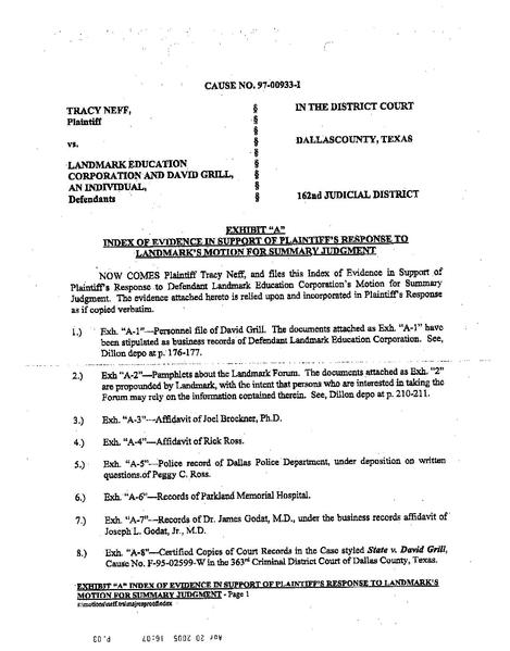 File 1997 Neff V Landmark Neff Exhibit List Fm Summary Pdf