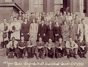 Osgoode Hall Law School - The first year class of Osgoode Hall Law School in 1944