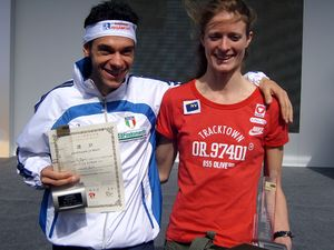 Marco De Gasperi and Andrea Mayr, winners of the 2007 Taipei 101 Run Up.