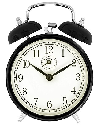 Alarm clock - Traditional wind-up (keywound), mechanical, spring-driven alarm clock