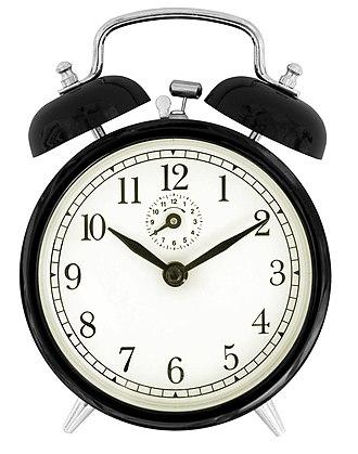 Alarm clock - Traditional wind-up (keywound), mechanical, spring-driven alarm clock