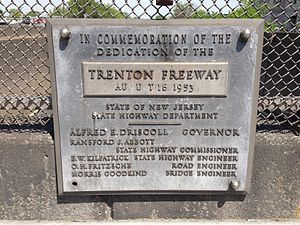 U.S. Route 1 in New Jersey - Trenton Freeway dedication plaque (1953)