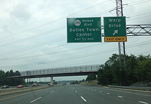 Cultural influence of Star Trek - Exit sign for Warp Drive in Dulles, Virginia, one of many Trek-inspired roads in the U.S.