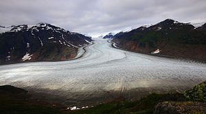 Hyder, Alaska - Salmon Glacier in British Columbia, a popular tourist destination can only be reached via Hyder.