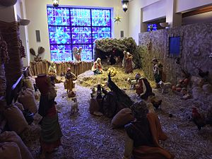 Basilica of Mary, Queen of the Universe - Nativity scene in the side Chapel (Dec 2015)