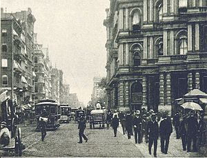 Downtown - Downtown New York City (Manhattan) in 1893; looking up Broadway from Barclay Street