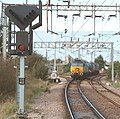 57 310 & 57 303 bring the Stowmarket-Clacton-Stowmarket RHTT working through Hythe station to a stop at Eastgates East Junction, before proceeding over the triangle towards Colchester North . Saturday 25th Oct 2014 - 15621920541.jpg