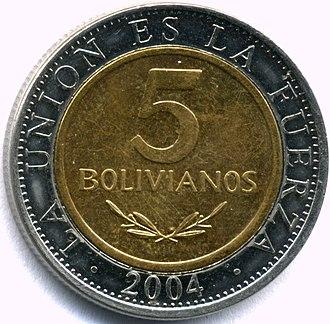 Bolivian boliviano - Five-boliviano coin, 2004 (bimetallic)