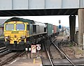 66 509 approaches Eastleigh with a container train for Southampton Maritime.jpg