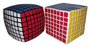 V-Cube 7 - V-Cube 7 (left), Shengshou 7×7 (right)
