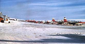 74th Fighter-Interceptor Squadron F-89s, Thule Air Base, Greenland, 1955 74th Fighter-Interceptor Squadron F-89s Thule 1955.jpg
