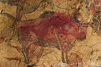 Art of the Upper Paleolithic - Bison painting (replica) from the Cave of Altamira, dated to the Magdalenian.