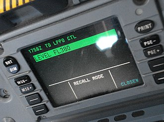 Future Air Navigation System - The datalink control and display unit (DCDU) on an Airbus A330, the pilot interface for sending and receiving CPDLC messages.