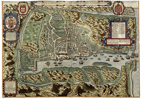 Portuguese Goa, ca. 1590. The heaviest fighting took place around Benastarim, southeast of the city (top left) AMH-6577-KB Bird's eye view of the city of Goa.jpg