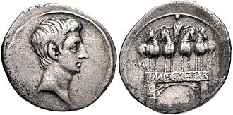 Arch of Augustus, Rome - Denarius with one-bayed Augustan arch, probably struck in Rome in ca. 30-29 BCE.