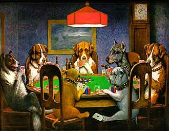 "Antwerp, New York - ""A Friend in Need"" from Dogs Playing Poker, by C. M. Coolidge"