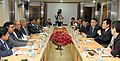 A Korean delegation led by the Mayor of Pohang, South Korea, Mr. Lee Kang-deok meeting the Union Minister for Mines and Steel, Shri Narendra Singh Tomar, in New Delhi on February 12, 2016.jpg