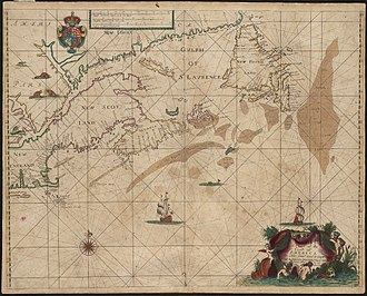 "John Seller - ""A chart of the coast of America from New found Land to Cape Cod"", from Atlas maritimus (1675)"