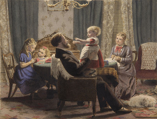 A family in a drawing room 19c
