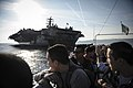 A liberty boat departs the aircraft carrier USS Nimitz (CVN 68) Oct. 30, 2013, after the ship arrived in Naples, Italy, for a port visit 131030-N-MX772-035.jpg