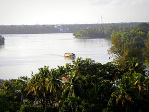 Geography of Kollam - Ashtamudi backwaters - View from RP Mall