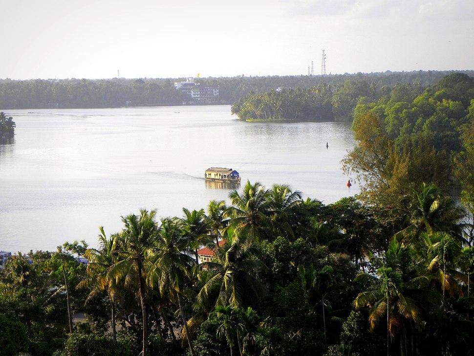 A top view of Ashtamudi backwaters