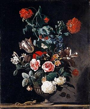 Abraham Begeyn - Flowers in a Stone Vase, 1670