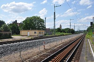 Pirna–Coswig railway - Dresden Pieschen station during the construction: the old track on the Dresden-Neustadt–Coswig line is still in operation, the long-distance railway tracks are under construction (June 2013).