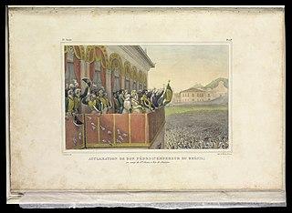 Acclamation de Don Pédro 1er. Empereur du Brésil; : au camp de Stª. Anna, à Rio-de-Janeiro