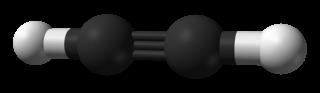 Modell av etyn (acetylen). Kolatomerna binder till varandra med en trippelbindning.