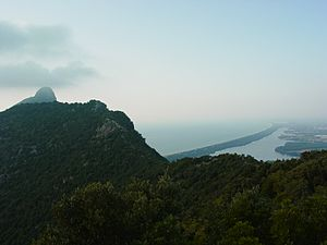 Mount Circeo - The Acropolis (High Place) of Mount Circeo as seen from the Ancient Tower Ruins with Sabaudia in the distance.