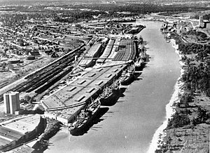 Bayou - Aerial view of body of water (circa 1920, Buffalo Bayou, Houston, Texas)