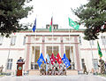 Afghanistan Minister of Defense Bismillah Khan Mohammadi, at lectern, delivers remarks during the International Security Assistance Force and U.S. Forces-Afghanistan change of command ceremony Aug. 26, 2014 140826-D-HU462-540.jpg